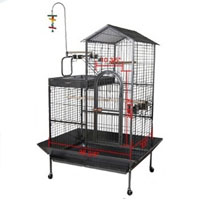 "43""x35""x63"" Black Vein House Play Top Bird Cage"