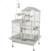 "43""x35""x63"" White Vein House Play Top Bird Cage"