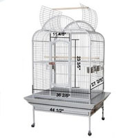 "44""x35""x66"" White Vein Dome House Open Play Top Bird Cage"