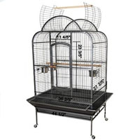 "44""x35""x66"" Black Vein Dome House Open Play Top Bird Cage"