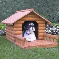 High Quality Large Log Style Dog House with Porch