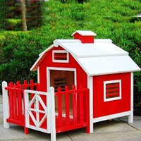 Red Wood Pet Dog House