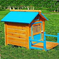 Blue Wood Pet Dog House