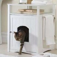 White Pet House Night Stand / Cat Washroom Cover