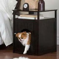 Espresso Pet House Night Stand / Cat Washroom Cover