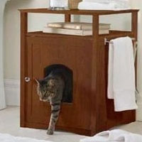 Walnut Pet House Night Stand / Cat Washroom Cover