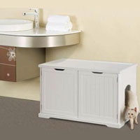 White Bench Cat Washroom Cover