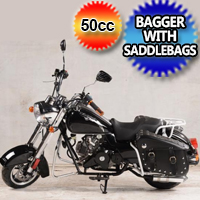 50cc Mini Bagger Custom Chopper With SaddleBags Half Size