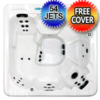 7 Person Wraparound Lounger Hot Tub Spa With Walk In Steps w/ 54 Therapeutic Jets - GT 350