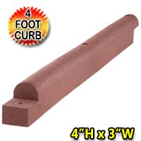 """4"""" High x 4' Length X 3"""" Width Standard Flexible Rubber Border"""