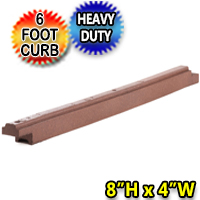 "8"" High x 6' Length X 4""  Width 70 lbs. Heavy Duty Flexible Rubber Border - 1 curb = 5.66 Linear Feet"
