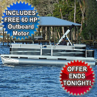 2015 21' x 8.5' Rear Entry Cruising Pontoon Boat with Sun Deck & 60hp Motor