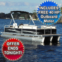 2014 21' x 8.5' Rear Entry Cruising Pontoon Boat with 40hp Motor