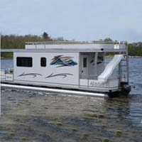 8' X 30' Day Boat Pontoon Houseboat w/ Trailer + Motor
