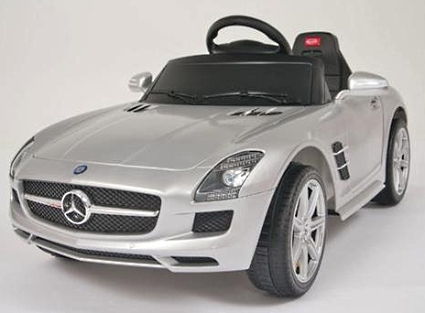 Kids ride on power wheels remote silver mercedes benz for Kids mercedes benz power wheel