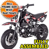 "110cc Automatic Pit Dirt Bike Motorcycle w/ E-Start - 50cc FRAME SIZE W/24"" Seat Height"