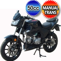 50cc Touring Motorcycle Scooter Bike With Manual Transmission 4 Speed 40+ MPH