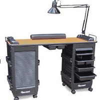Polystyrene Double Cabinet Manicure Table