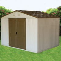 Duramax 10.5' x 8' Westchester Double Wall Outdoor Vinyl Storage Shed w/ Foundation