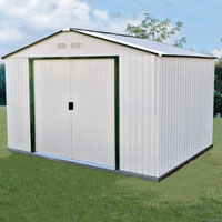 Duramax 10x8 Del Mar Metal Shed + Foundation - Green Trim