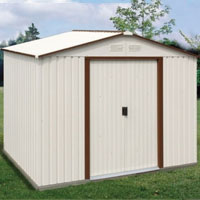 Duramax 10x10 Del Mar Colossus Metal Shed + Foundation - Brown Trim