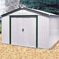 Duramax 10x12 Del Mar Colossus Metal Shed + Foundation - Green Trim