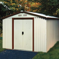 Duramax 10x12 Del Mar Colossus Metal Shed + Foundation - Brown Trim