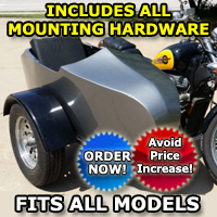 RocketTeer Old School Biker Side Car Motorcycle Sidecar Kit - Fits All Models