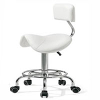 White Hydraulic Saddle Stool with Backrest