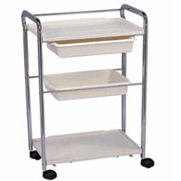 Three Level Metal Frame Trolley Cart with Plastic Trays
