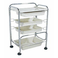 Four Level Metal Frame Trolley Cart with Plastic