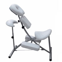 White Massage Chair with Knee and Arm Support for Spas