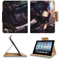Black Rock Shooter Mato Kuroi Apple Ipad 2 3 4 Flip Case Stand Smart Magnetic Cover Retina Display