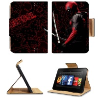 Deadpool Mask and Swords Amazon Kindle Fire HD 7 Flip Case Stand Magnetic Cover Customized