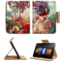 Artistic Woman Butterfly Forest Nature Amazon Kindle Fire HD 7 Flip Case Stand Magnetic Cover Customized