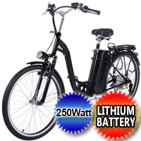 "26"" 250W 36v Electric Bicycle EBike 6 Speed Step Through Mountain Bike w/Lithium Battery"