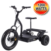 48v 1200 Watt Electric Trike Scooter Triple Seg Scooter With Rack & Seat