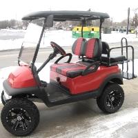 48V Red Club Car Precedent Lifted Electric Golf Cart