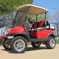 48V Red Club Car Precedent Lifted Golf Cart with Custom Seats