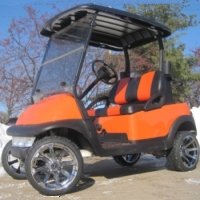 48V Burnt Orange Club Car Precedent Lifted Electric Golf Cart
