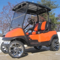 48V Burnt Orange Club Car Precedent Electric Golf Cart