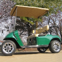 Green EZ-GO 36v Electric Golf Cart w/ Chrome Rims