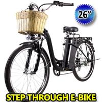 "26"" Electric Bicycle 250 Watt Step Through Lithium Powered Bike with Plastic Basket"