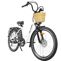 "26"" Electric Bicycle 350 Watt Step Through Lithium Powered City Bike with Plastic Basket - Stroller"