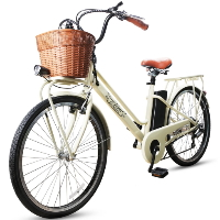 """26"""" Electric Bicycle 250 Watt Step Through Lithium Powered City Bike with Plastic Basket"""