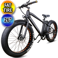 "26"" Fat Tire Electric Bike Mountain 36V Lithium Powered Cruiser - Black"