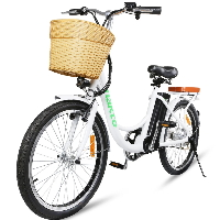 """22"""" Electric Bicycle 250 Watt Step Through Lithium Powered City Bike with Plastic Basket"""
