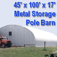 45' x 100' x 17' Steel Storage Pole Barn Building