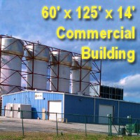 60' x 125' x 14' Steel Rigid Frame I-Beam Factory Commercial Storage Building