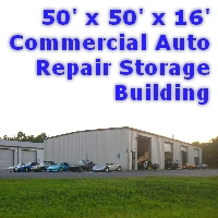 50' x 50' x 16' Prefab Auto Repair Commercial Storage Building